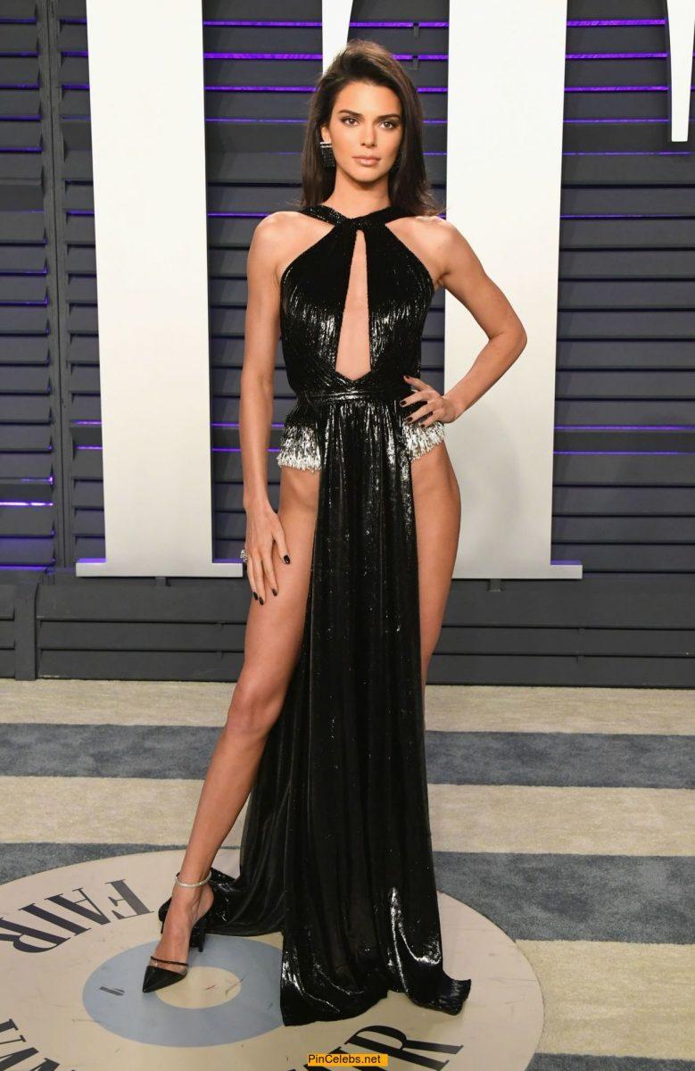 Kendall Jenner leggy at 2019 Vanity Fair Oscar Party